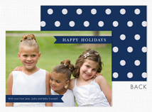 Navy Banners & Dots Holiday Photo Card